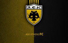 Download wallpapers AEK Athens FC, 4k, logo, Greek Super League, leather texture, AEK emblem, Athens, Greece, football, Greek football club
