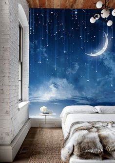 7f76ae896e22 Moon Sky Wallpaper Mysterious Moonlit Wall Mural Starry Night Wall Art Dark  Blue Sky Painting Effect Wall Hanging Navy Nature Large Print