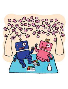 Robotlove over bento box and sake picnic! @Etsy