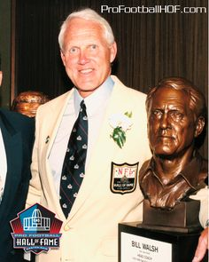 Bill Walsh, Pro Football Hall of Fame Class of 1993, led 49ers to three Super Bowl wins (XVI, XIX, XXIII) in 10 years. Click image for complete HOF bio.