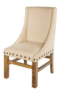 Vintage Dining Chair in Linen with Studs