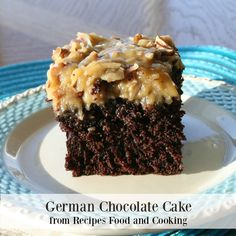 Moist, delicious chocolate cake with Mom's German Chocolate Frosting full of pecans and coconut.