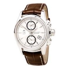 Hamilton H32616553 Men's Jazzmaster Silver Dial Brown Leather Strap Automatic Chrono Watch
