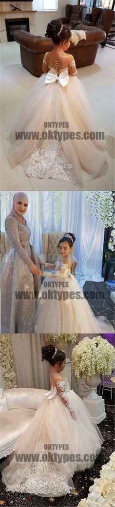 Sweet Flower Girl Long Sleeve Lace applique Dress, Cute Flower Girl Dress, TYP0692 #flowergirldresses #flowergirl
