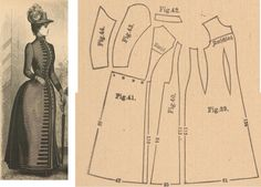 Der Bazar 1888: Dark brown tricot-fabric raincoat; 39. front part, 40. side gore, 41. back part in half size, 42. collar in half size, 43. and 44. sleeve parts