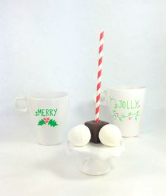 Be Merry or Jolly Mug - Hot Chocolate on a Stick - Vanilla Bean Marshmallow Balls - Limited Edition by PSSweet on Etsy