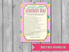 Printable bachelorette scavenger hunt game / bachelorette game / hen party game / pineapple bachelorette / scavenger hunt / drinking game by PrettyPrintablesInk on Etsy