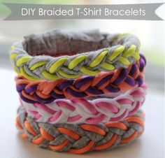 YAY! something to do with all those left overs from all my cutoffs/braided shirts I make:) happy happy happy diy braided tshirt bracelets