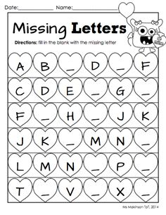 February Printable Packet - Kindergarten Literacy and Math. Missing letter worksheet for Valentine's Day.