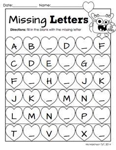 February Printable Packet - Kindergarten Literacy and Math. Missing letter worksheet for Valentine's Day.