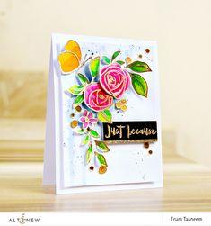 Altenew Bamboo Rose Stamp Set | Watercolored | Erum Tasneem | @pr0digy0