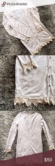 """FREE PEOPLE Crochet Trim Duster Cardigan *Tan heather with tan contrast trim, super soft and very comfortable. *Body length 34"""" (from HPS to hem). *Contents: 92% Polyester, 8% Rayon. *EUC. Free People Sweaters"""