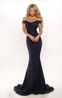 Portia & Scarlett Australian Designer SIENNA Navy Blue Lace Formal Dress