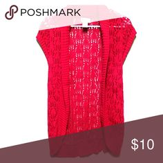 Red lacey open top Short-sleeved, cute with camisole underneath, worn once. SO Tops Sweatshirts & Hoodies