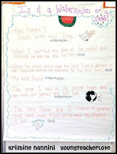 Watermelon or Seed Narrative Writing Anchor Chart - Young Teacher Love by Kristine Nannini Writing Lessons, Teaching Writing, Teaching Tools, Teaching Ideas, Writing Ideas, Writing Strategies, Writing Resources, Writing Activities, Writing Prompts