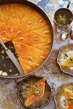 Middle Eastern food recipes A great recipe for 'Hareesa' (Middle Eastern semolina cake) by chef in disguise. Ramadan Recipes, Sweets Recipes, Indian Food Recipes, Cooking Recipes, Eid Dessert Recipes, Ramadan Desserts, Ramadan Food, Tofu Recipes, Middle East Food