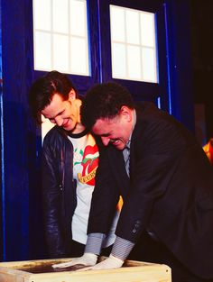 Steven Moffat and Matt Smith at The Doctor Who Experience