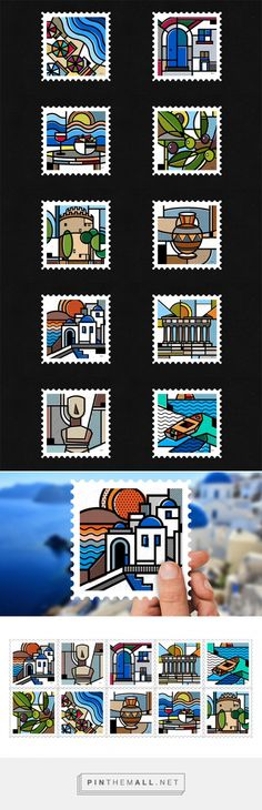 'Destination Greece', a stamp collection by Mike Karolos. Mike Karolos is a Manchester, UK born graphic designer who grew up in Greece, where he still Graphic Design Illustration, Illustration Art, Illustrations, Post Box Designs, Destination Branding, Greece Design, Greek Icons, Greece Art, Design Campaign