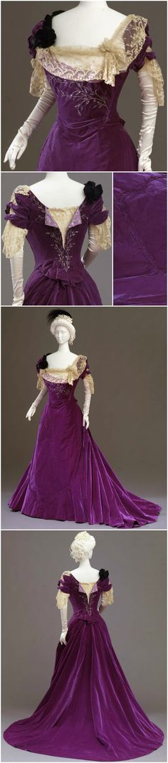 Purple velvet dress in two parts (bodice and skirt), by Atelier Worth, Paris, c. 1901, at the Pitti Palace Costume Gallery. Via Europeana Fashion Tumblr.