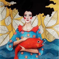 Hülya Özdemir is an illustrator and Turkish painter who creates beautiful colored works that have as their theme the women and femininity. Graphic Design Illustration, Illustration Art, Lowbrow Art, Hippie Art, Arte Pop, Portrait Art, Doodle Art, Art Tutorials, Art Pictures
