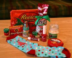 Fun Christmas tradition! Christmas Sock Exchange ~ filled with treats.