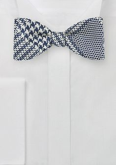 Navy and Silver Glen Check Bow Tie, $29.90 | Cheap-Neckties.com