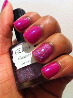 Mavala Daring Pink with Elixir Lacquers Supa Sugar Bee as an accent