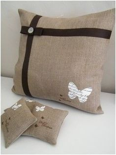 Burlap Pillows, Sewing Pillows, Throw Cushions, Bed Rug, Learning To Embroider, Fancy Bows, Burlap Crafts, Pillow Fight, Couture Sewing