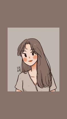 Cute Little Drawings, Cute Cartoon Drawings, Cute Cartoon Girl, Cute Love Cartoons, Cartoon Girl Drawing, Cartoon Art Styles, Cute Couple Wallpaper, K Wallpaper, Korean Art