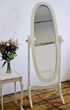 Free standing Cheval mirror painted in Annie Sloan original and lightly distressed £70