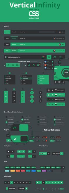 Download Vertical Infinity – A Mega Flat Style UI Kit PSD File