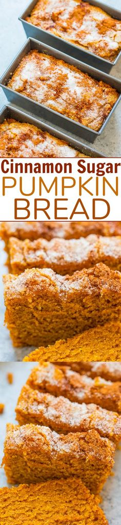 Cinnamon Sugar Pumpkin Bread – Super soft, tender, moist pumpkin bread with a slightly crunchy cinnamon sugar topping!! The mini loaves are EASY, brimming will fall flavors, totally IRRESISTIBLE, and