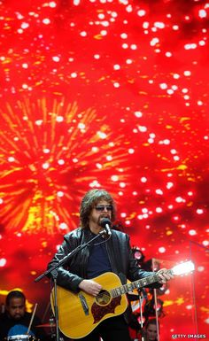 "Mr Blue Sky triggers the rain - Jeff Lynne's ELO burst onto the Pyramid Stage to play the Sunday afternoon ""legend slot"", as the heavens opened over Glastonbury. http://www.bbc.co.uk/news/entertainment-arts-36635481 #music #legend"