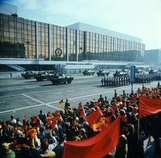 Military parade in front of the Palace of the Republic in East Berlin