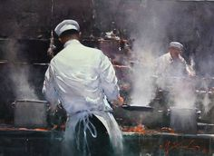 Original watercolour painting Chefs at Work by Joseph Zbukvic (watercolor) Watercolor Artists, Watercolor Portraits, Watercolor Landscape, Watercolour Painting, Painting & Drawing, Landscape Paintings, Watercolours, Joseph Zbukvic, John Singer Sargent