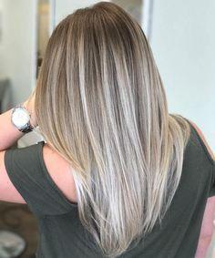 Straight Ash Blonde Balayage Hair