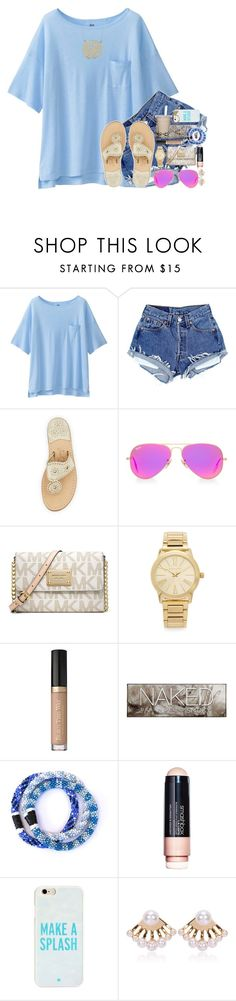 """""""so excited for cheer season ;)"""" by kate-elizabethh ❤ liked on Polyvore featuring Uniqlo, Jack Rogers, Ray-Ban, Michael Kors, Urban Decay, Smashbox, Kate Spade and By Emily"""