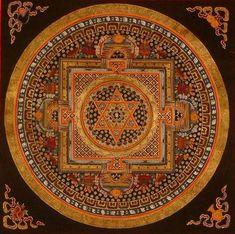 This looks like a very exotic mandala with a Jewish star in the middle. Tibetan Mandala, Tibetan Art, Sacred Symbols, Sacred Art, Mandala Painting, Mandala Art, Thangka Painting, Ganesh Yantra, Sri Yantra