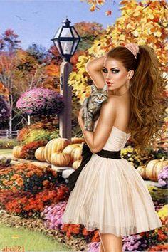 Осенняя прогука с другом - анимация на телефон №1396717