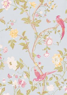 My bedroom wallpaper - Summer Palace Duck Egg wallpaper by Laura Ashley Wallpaper direct. See room samples.