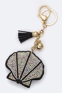 Crystal Shell & Tassel Keychain - KEY675BK