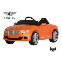 BENTLEY CONTINENTAL GT- LICENSED 6V ELECTRIC RIDE ON CAR - ORANGE   We have now this amazing genuine Bentley GT Ride on Car with Full function parental remote control. This great looking Bentley GT is very close to real one and packed with superb gadgets such as Key Start Horn Sound and working front lights.