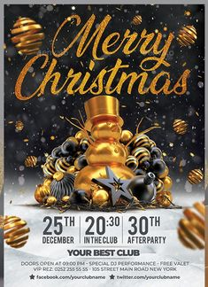 Buy Merry Christmas Flyer by darkmonarch on GraphicRiver. Merry Christmas Flyer Template Features Easy customizable and editable CMYK setting bleed area) Layer. Xmas Party, Party Party, Christmas Flyer Template, Deer Horns, Best Club, Party Flyer, Gold Gold, Nightclub, Christmas Christmas