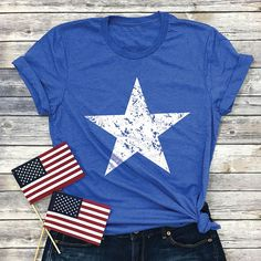 Fourth of July Star Shirt - Americana Shirt - Red White and Blue - of July Tshirt - Patriotic Sh Fourth Of July Shirts, Patriotic Shirts, 4th Of July, Blue Spray Paint, Usa Shirt, Shirts For Girls, Colorful Shirts, Red And White, Cricut Creations