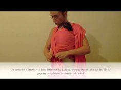 Porter un nouveau né en écharpe de portage : enveloppé croisé sur le ventre http://www.auxmilleunportebebes.com Boutique et conseils spécialiste des porte bé...