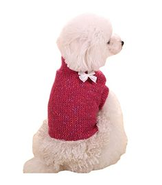 PetsLove Pet Sweater Dog Clothes Cat Dress Coats Clothing Apparel Outwear for Winter Rose Red M ** Continue to the product at the image link.