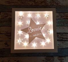 Ein schönes Geschenk zur Geburt, Taufe zum Geburtstag oder zum selber behalten. Du kannst wählen ob ich den Rahmen für ein Kind (ein Stern) oder zwei Kinder (zwei Sterne) herstellen soll (für...