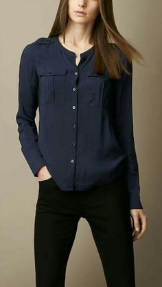 Burberry Brit Collarless Voile Shirt- Love the color combination! Casual Chic, Casual Fridays, Look Fashion, Fashion Outfits, Mode Hijab, Work Attire, Shirt Blouses, Women's Shirts, Blouse Designs