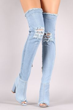 7711d10c518 Distressed Denim Chunky Heeled Over-The-Knee Boots