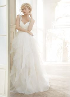 <p><strong>Carrie</strong></p><p>Ivory english net A·line natural waist bridal gown with draped sweetheart bodice, tiered flounce skirt, crystal straps, keyhole back, and chapel train.</p> Bridal Gowns, Wedding Dresses by Hayley Paige Bridal - JLM Couture - Bridal Style HP6350 by JLM Couture, Inc.